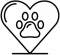 Icon of heart with a paw